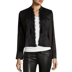 Nanette Lepore Lace-Trim Faux-Suese Jacket Size 8